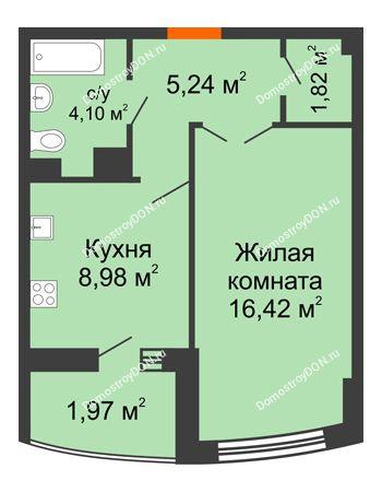 1 комнатная квартира 40,56 м² в ЖК Университетский 137, дом Секция С1