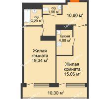 2 комнатная квартира 67,32 м², ЖК Горизонт - планировка