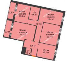 4 комнатная квартира 134,4 м², Жилой дом: ул. Варварская - планировка