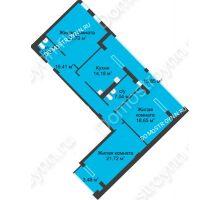 3 комнатная квартира 111,48 м² в ЖК Воскресенская слобода, дом №1 - планировка