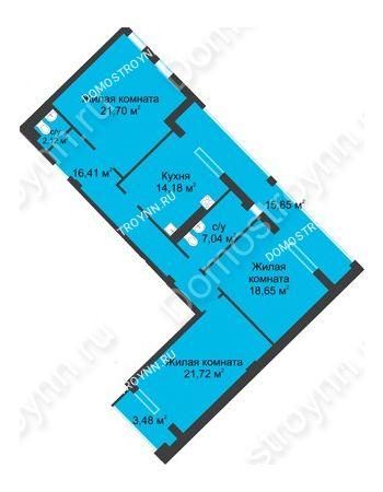 3 комнатная квартира 111,48 м² в ЖК Воскресенская слобода, дом №1