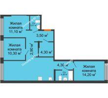 2 комнатная квартира 66,13 м² в ЖК Речной порт, дом № 6 - планировка