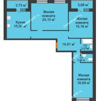 3 комнатная квартира 97,91 м² в ЖК Новая Самара, дом № 46 - планировка