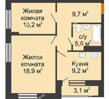 2 комнатная квартира 54,6 м² в ЖК Октава, дом №3 - планировка
