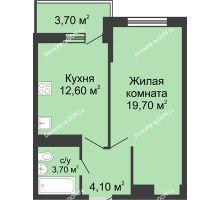 1 комнатная квартира 42,2 м² в ЖК Первый, дом Литер 1 - планировка