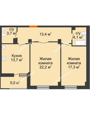 2 комнатная квартира 76,9 м² в ЖК Квартет, дом № 3