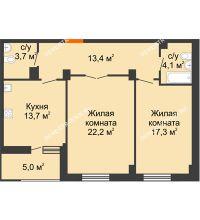 2 комнатная квартира 76,9 м² в ЖК Квартет, дом № 3 - планировка