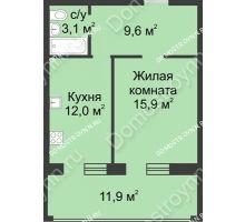 1 комнатная квартира 53,3 м² в ЖК Славянский квартал, дом № 188 - планировка