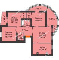 4 комнатная квартира 114,14 м² в Микpopaйoн  Преображенский, дом № 5 - планировка