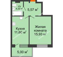 1 комнатная квартира 42,44 м² в ЖК Гвардейский 3.0, дом Секция 3 - планировка