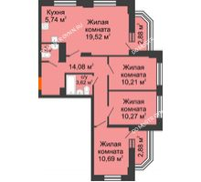 4 комнатная квартира 78,97 м² - ЖК Каскад на Куйбышева