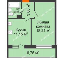1 комнатная квартира 43,31 м² в ЖК Добрый, дом № 1