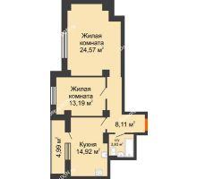 2 комнатная квартира 70,55 м², ЖК Штахановского - планировка