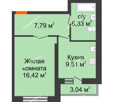 1 комнатная квартира 41,87 м², НЕБО на Ленинском, 215В - планировка