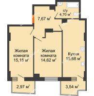 2 комнатная квартира 59,77 м² в ЖК Сердце Ростова 2, дом Литер 8 - планировка