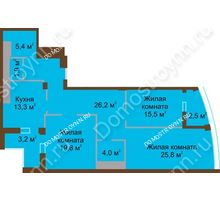 3 комнатная квартира 117,8 м² в ЖК Монолит, дом № 89, корп. 1, 2 - планировка