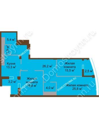 3 комнатная квартира 117,8 м² в ЖК Монолит, дом № 89, корп. 1, 2