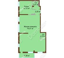 1 комнатная квартира 105,4 м² в ЖК Дом с террасами, дом № 1