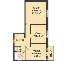 2 комнатная квартира 68,47 м² в ЖК Бограда 109, дом № 2 - планировка