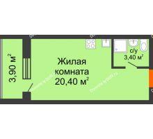 Студия 27,7 м² в ЖК Сиреневый квартал, дом Секция 1 - планировка
