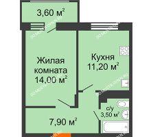 1 комнатная квартира 38,4 м² в ЖК Цветы 2, дом № 4 - планировка