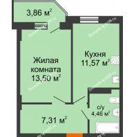 1 комнатная квартира 38 м² в ЖК Свобода, дом № 1 - планировка