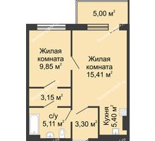 2 комнатная квартира 47,22 м² в ЖК Времена Года, дом № 1