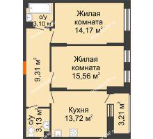 2 комнатная квартира 59,41 м², ЖД Жизнь - планировка