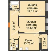 2 комнатная квартира 60,64 м², ЖД Жизнь - планировка