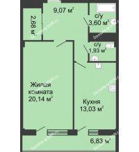 1 комнатная квартира 50,9 м² в  ЖК РИИЖТский Уют, дом Секция 1-2 - планировка