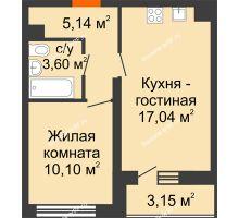 1 комнатная квартира 37,45 м², НЕБО на Ленинском, 215В - планировка