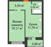 1 комнатная квартира 40,3 м² в ЖК Новая Самара, дом № 43 - планировка