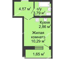 Студия 22,64 м² в ЖК Соловьиная роща, дом № 3 - планировка
