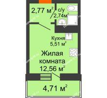 Студия 20,43 м² в ЖК Волна, дом 1 очередь (секция 7) - планировка
