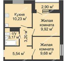 2 комнатная квартира 43,19 м² в ЖК Бурнаковский, дом № 38 - планировка