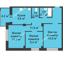 3 комнатная квартира 66 м² в ЖК Аквамарин, дом №2 - планировка